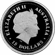 15 Dollars - Elizabeth II (4th Portrait - Waratah - Platinum Bullion Coin) -  obverse