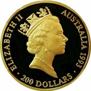 200 Dollars Elizabeth II (3rd Portrait - Olympics 100Yrs - Gold Proof) -  obverse