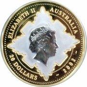 20 Dollars - Elizabeth II (4th Portrait - Golden Jubilee Accession - Bi-Metalic Proof) -  obverse