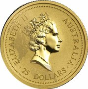 25 Dollars - Elizabeth II (3rd Portrait - Australian Nugget - Gold Bullion Coin) -  obverse