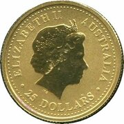 25 Dollars - Elizabeth II (4th Portrait - Australian Nugget - Gold Bullion Coin) -  obverse