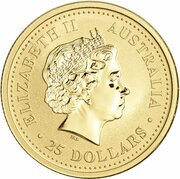 25 Dollars - Elizabeth II (4th Portrait - Year of the Rooster - Gold Bullion Coin) -  obverse