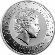 30 Dollars - Elizabeth II (4th Portrait - Year of the Snake - Silver Bullion Coin) -  obverse