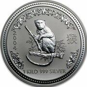 30 Dollars - Elizabeth II (4th Portrait - Year of the Monkey - Silver Bullion Coin) -  reverse
