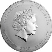 30 Dollars - Elizabeth II (4th Portrait - Year of the Mouse - Silver Bullion Coin) -  obverse