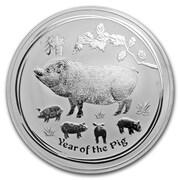 30 Dollars - Elizabeth II (4th Portrait - Year of the Pig - Silver Bullion Coin) -  reverse