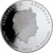 30 Dollars - Elizabeth II (4th Portrait - Year of the Horse - Silver Bullion Coin) -  obverse