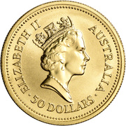 50 Dollars - Elizabeth II (3rd Portrait - Kangaroo - Gold Bullion Coin) -  obverse