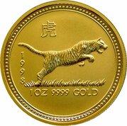 100 Dollars - Elizabeth II (4th Portrait - Year of the Tiger - Gold Bullion Coin) -  reverse