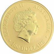 100 Dollars - Elizabeth II (4th Portrait - Australian Kangaroo - Gold Bullion Coin) -  obverse