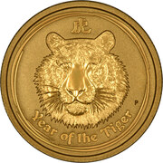 1000 Dollars - Elizabeth II (4th Portrait - Year of the Tiger - Gold Bullion Coin) -  reverse