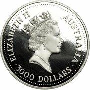 3000 Dollars - Elizabeth II (3rd Portrait - Koala - Platinum Bullion Coin) -  obverse