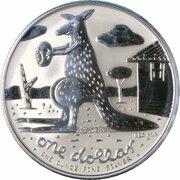 1 Dollar - Elizabeth II (4th Portrait - Mombassa Kangaroo - Silver) -  reverse