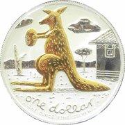 1 Dollar - Elizabeth II (4th Portrait - Mombassa Kangaroo - Silver Gilded Proof) -  reverse