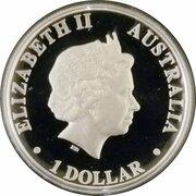1 Dollar - Elizabeth II (4th Portrait - Kookaburra  - Silver Proof High Relief) -  obverse
