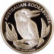 1 Dollar - Elizabeth II (4th Portrait - Kookaburra  - Silver Proof High Relief) -  reverse
