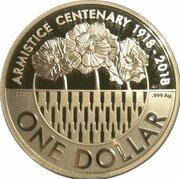 1 Dollar - Elizabeth II (4th Portrait - Armistice Centenary 1918-2018) -  reverse