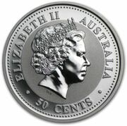 50 Cents - Elizabeth II (4th Portrait - Year of the Rabbit - Silver Bullion Coin) – obverse
