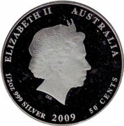 50 Cents - Elizabeth II (4th Portrait - Leafy Sea Dragon) -  obverse