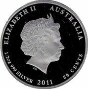 50 Cents - Elizabeth II (4th Portrait - Hawksbill Turtle) -  obverse
