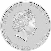 50 Cents - Elizabeth II (4th Portrait - Year of the Goat - Silver Bullion Coin) – obverse