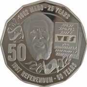 50 Cents - Elizabeth II (4th Portrait - Pride and Passion - 1967 Referendum - Silver Proof) -  reverse