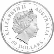 50 Dollars - Elizabeth II (4th Portrait - Black-Anther Flax-Lily - Platinum Proof) -  obverse