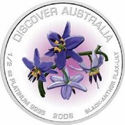 50 Dollars - Elizabeth II (4th Portrait - Black-Anther Flax-Lily - Platinum Proof) -  reverse