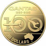 30 Dollars - Elizabeth II (6th Portrait - QANTAS Centenary - Gold Proof) -  reverse