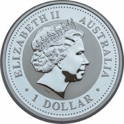 1 Dollar - Elizabeth II (4th Portrait - Year of the Pig - Silver Gilded Coin) – obverse