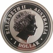 1 Dollar - Elizabeth II (4th Portrait - Year of the Pig - Silver Bullion Coin - Colourised) – obverse