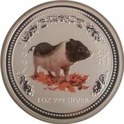 1 Dollar - Elizabeth II (4th Portrait - Year of the Pig - Silver Bullion Coin - Colourised) – reverse