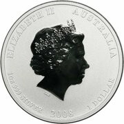1 Dollar - Elizabeth II (4th Portrait - Year of the Mouse - Silver Bullion Coin) -  obverse