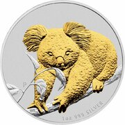 1 Dollar - Elizabeth II (4th Portrait - Koala - Silver Bullion Coin - Gilt) -  reverse