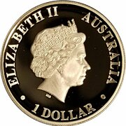 1 Dollar - Elizabeth II (4th Portrait - Kookaburra silver proof high relief) -  obverse