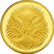 5 Cents - Elizabeth II (4th Portrait - Australian Miniature Money Gold Proof) -  reverse