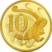10 Cents - Elizabeth II (4th Portrait - Australian Miniature Money Gold Proof) -  reverse