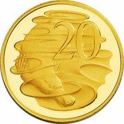 20 Cents - Elizabeth II (4th Portrait - Australian Miniature Money Gold Proof) -  reverse