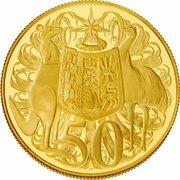 50 Cents - Elizabeth II (4th Portrait - Australian Miniature Money Gold Proof) -  reverse