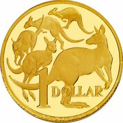 1 Dollar - Elizabeth II (4th Portrait - Australian Miniature Money Gold Proof) -  reverse