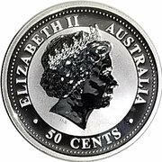 50 Cents - Elizabeth II (4th Portrait - Year of the Snake - Silver Bullion Coinage) -  obverse