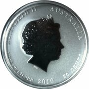 50 Cents - Elizabeth II (4th Portrait - Year of the Tiger - Silver Bullion Coin) – obverse