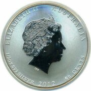 50 Cents - Elizabeth II (4th Portrait - Year of the Dragon - Silver Bullion Coin -  Colourised) – obverse