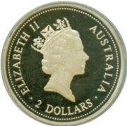 2 Dollars - Elizabeth II (3rd Portrait - Australian Kookaburra - Sovereign of King Edward VII) -  obverse