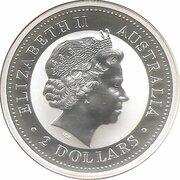 2 Dollars - Elizabeth II (4th Portrait - Australian Kookaburra - Ferdinand Silver Denar) -  obverse