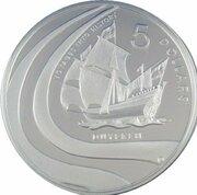 5 Dollars - Elizabeth II (4th Portrait - Duyfken - Masterpieces in Silver) -  reverse