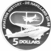 5 Dollars - Elizabeth II (4th Portrait - De Havilland DH 86 - Masterpieces in Silver) – reverse