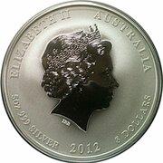8 Dollars - Elizabeth II (4th Portrait - Year of the Dragon - Silver Bullion Coin) -  obverse