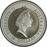 10 Dollars - Elizabeth II (3rd Portrait - Australian Kookaburra - Silver Bullion Coin) -  obverse