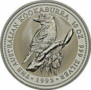 10 Dollars - Elizabeth II (3rd Portrait - Australian Kookaburra - Silver Bullion Coin) -  reverse